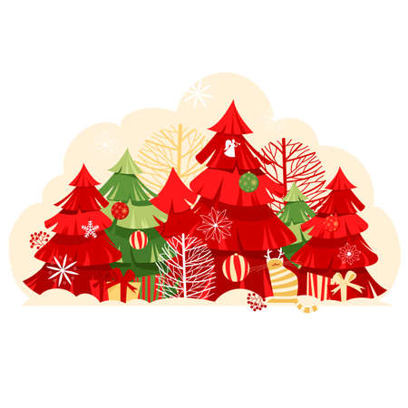 Christmas landscape. Christmas forest. vector image of trees. holiday decorations and gifts 免版税图像 - 157615785