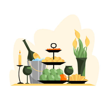 festive table. vector image of treats for the holiday. holiday food and flowers