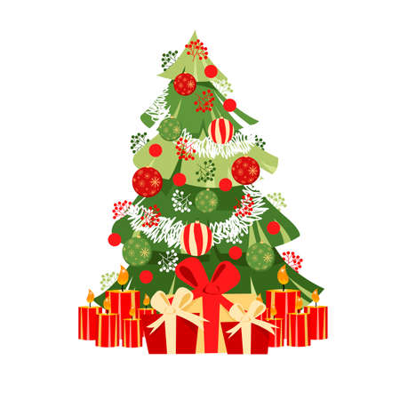 Christmas tree. decorated Christmas tree. gifts and candles for the holiday. vector images