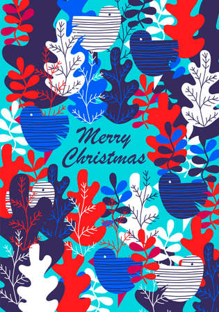 Christmas greeting card. vector greeting card with blue and red leaves. the inscription merry Christmas