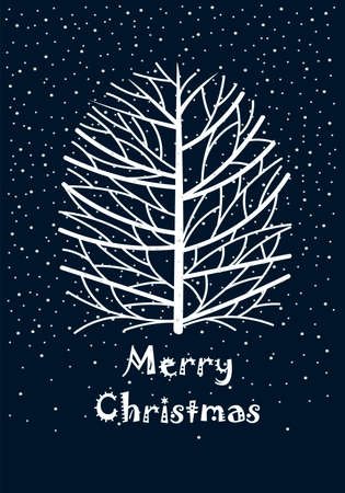 christmas postcard. Merry Christmas. a tree in the snow. congratulation. invitation 矢量图像