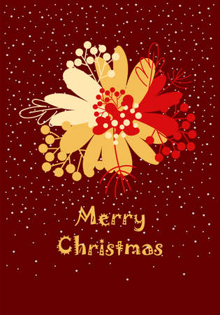 christmas postcard. Merry Christmas. a wreath of leaves. congratulation. invitation card