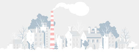 winter city landscape. vector illustration of a country town. urban panorama