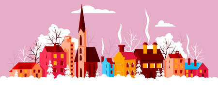 Christmas city. vector illustration of colored houses. winter panorama of the city