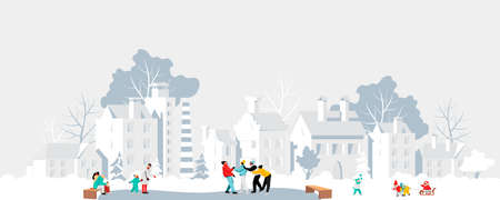 people in the city in winter. vector illustration of a winter holiday in a city Park. ice skating