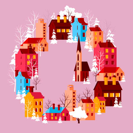 beautiful city. vector image of colored houses. urban landscape