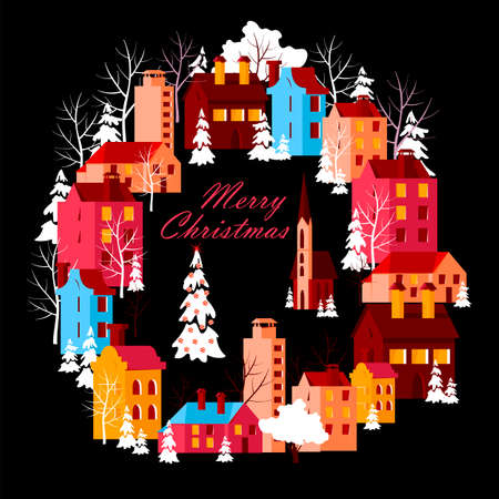 christmas postcard. beautiful Christmas city. vector image of colored houses on the square