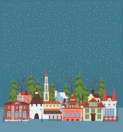 winter city. vector image of provincial houses. city panorama 矢量图像