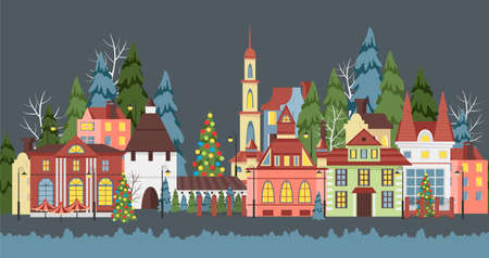Christmas city. vector image of provincial houses. seamless panorama of the city