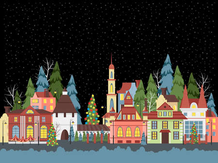 Christmas city. vector image of provincial houses. panorama of the festive city 矢量图像