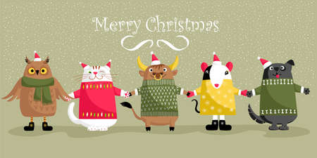 funny Christmas animals. vector image of animals in winter clothes. Merry christmas 矢量图像
