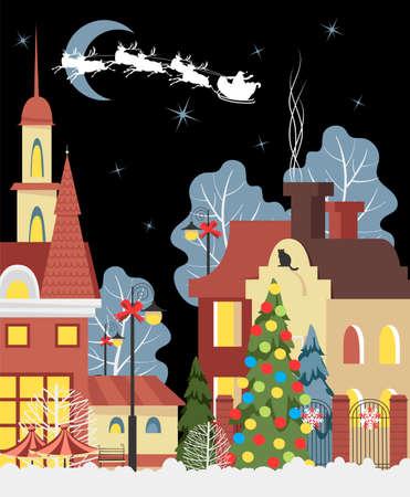 Christmas city. Merry Christmas. Christmas banner. holiday houses