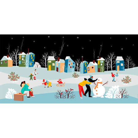 urban landscape. people walk in winter. night city. vector image of people in winter  イラスト・ベクター素材