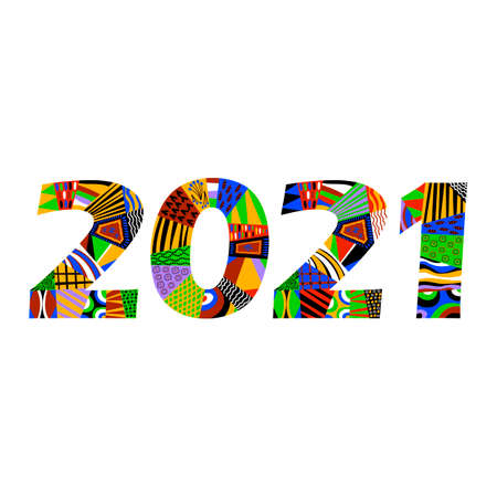 2021. new year. ethnic ornament. African pattern on the figures. vector numbers
