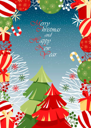 merry Christmas and happy new year. vector greeting card. congratulation. bright balloons and Christmas trees