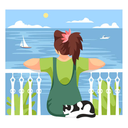 girl on the sea. a woman sits and looks at the ocean. vector illustration of a man with a cat