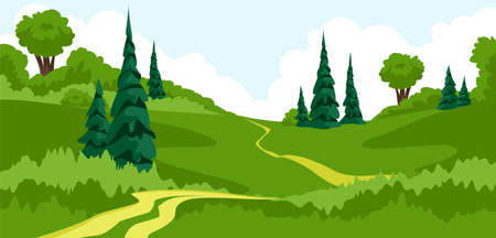 landscape. summer view of the forest park. horizontal panorama of the country landscape. vector 矢量图像