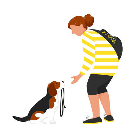 a girl with a dog. walking the dog. vector image of a person with a pet