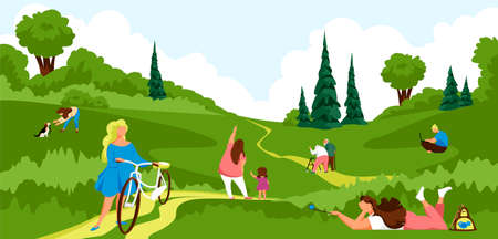 people in nature. vector image of people relaxing in the park. outdoor activities