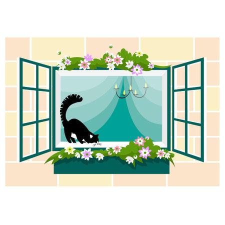 beautiful window. cat on the window. flower decoration