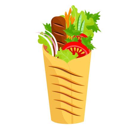 food roll. Shawarma. fast food in pita bread. street snack. oriental dish. asian food