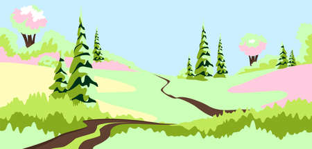 spring landscape. vector illustration of the countryside in the spring