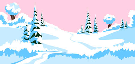 winter landscape. vector illustration of the countryside in winter 矢量图像