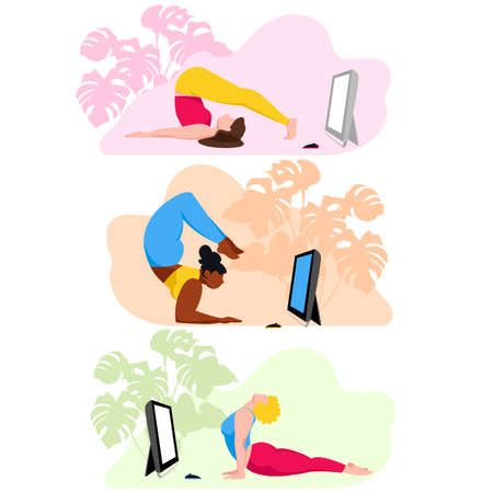 online fitness. people do yoga. doing physical exercises on the internet. set of images 矢量图像