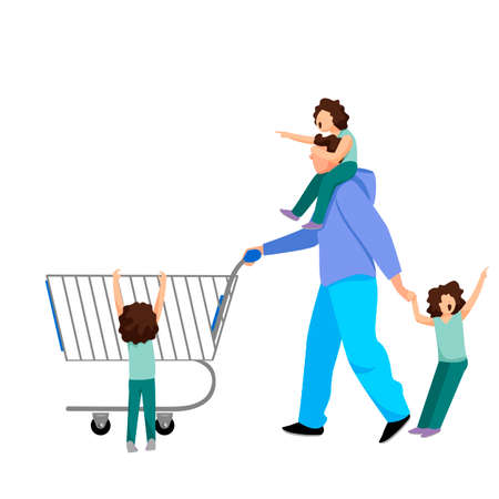 father with children. man with children in the store. educational difficulties. vector illustration