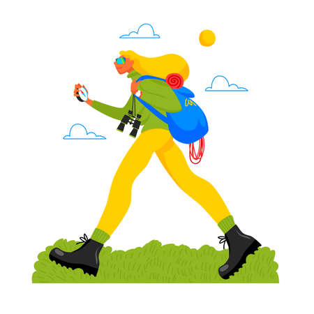 hiking. traveler. vector illustration of a woman going on a trip