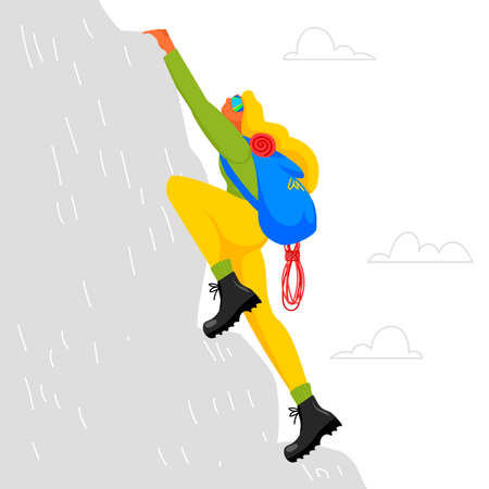 climber. woman climbs the mountain. backpacker vector illustration. conquest of the mountain