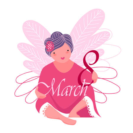 March 8.vector image of a woman. congratulations on the spring holiday of women 矢量图像