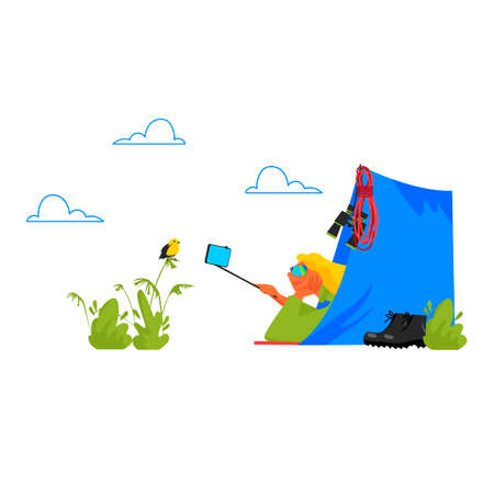 hiking. vector illustration of a woman tourist in a tent in nature 矢量图像