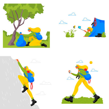 hiking tourism. climb the mountains. set of vector illustrations of outdoor recreation 矢量图像