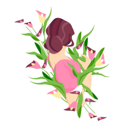 woman with flowers. vector illustration of woman back view. bouquet of flowers