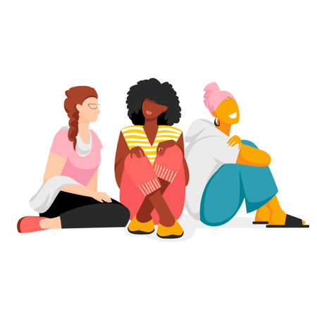 people sitting. vector image of seated women. group of girls