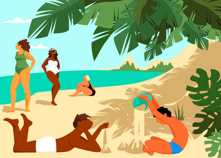 people on the beach. vector illustration of people having a rest. rest by the sea