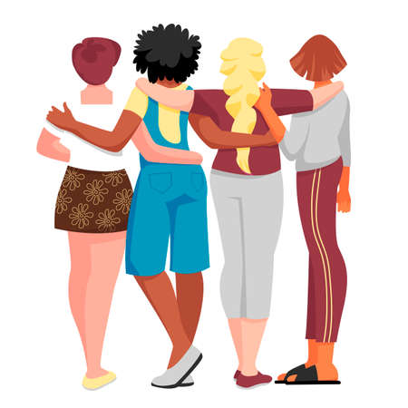 people have their backs. vector image of women back view. people hug