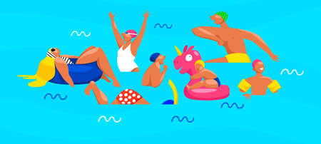 people are swimming. vector illustration of people in the water. vacation at sea