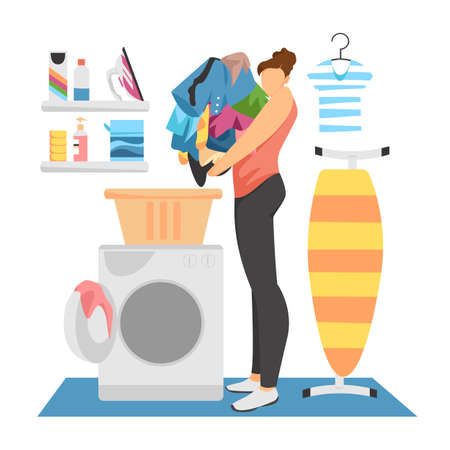 laundry service. vector image of a woman doing laundry in a laundry room