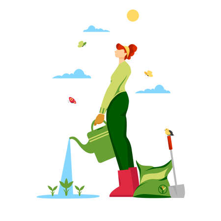 girl green thumb. a woman waters young plants in the garden. growing vegetables