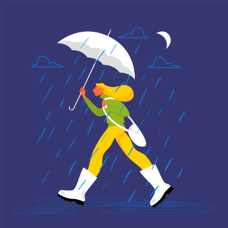 a girl in the rain. vector image of a woman with an umbrella at night 矢量图像