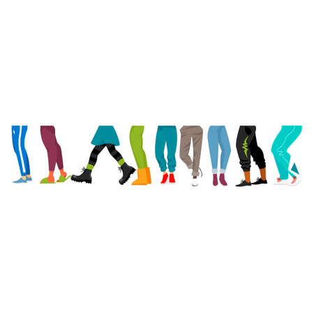 the human foot. vector image of human legs in everyday clothes 矢量图像