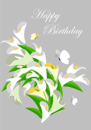 calla lilies. vector greeting card with flowers. happy birthday