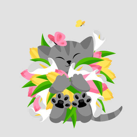 cat with flowers. vector greeting card with a cute kitten and a bouquet of flowers