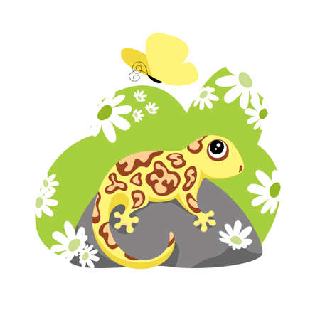 a lizard. a gecko. vector image of an amphibian in nature. flowers and a butterfly 矢量图像