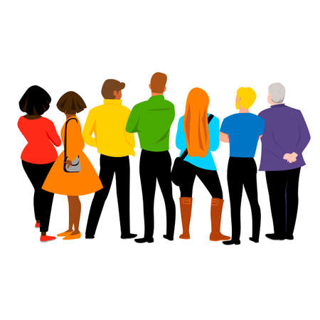 rainbow people. vector image of a group of people of different races and nationalities in colored clothing