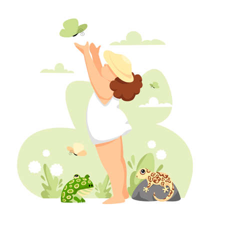 girl child. vector image of a child in nature. girl and amphibians