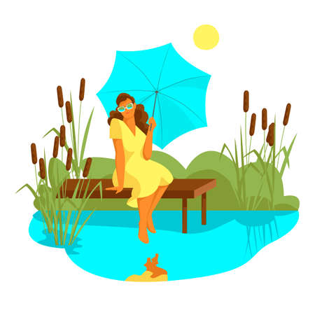 a girl under an umbrella sits near a pond. vector image of a woman in nature