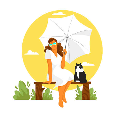 a girl under an umbrella sits on a bench. vector image of a woman with a cat